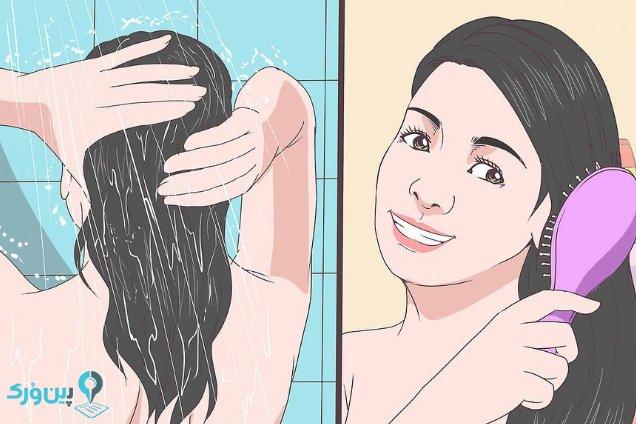 شستن و شانه کردن موی سر