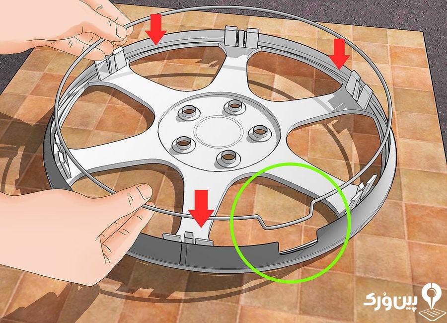 تنظیم کردن جای والف روی حلقه زیر قالپاق با خود قالپاق