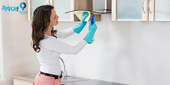 تمیز کردن لکه چربی از روی هود آشپزخانه با سرکه سفید | پین ورک