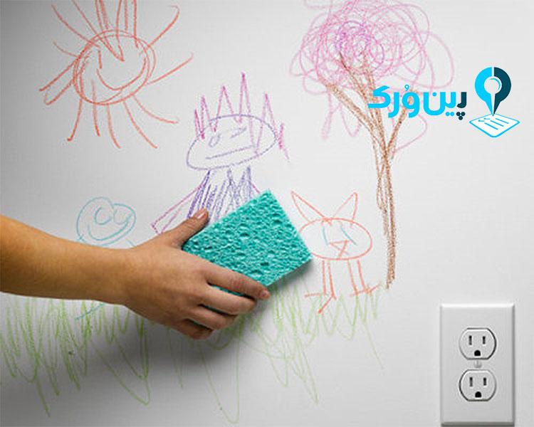 راه های پاک کردن لکه مداد رنگی از روی دیوار