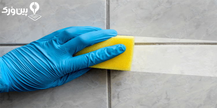 تمیز کردن کاشی سرویس بهداشتی