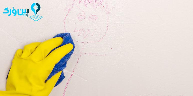 از بین بردن لکه رنگ از روی دیوار