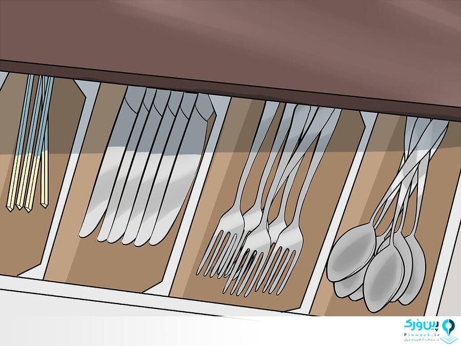 مرتب کردن لوازم آشپزخانه