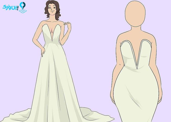 انتخاب مدل لباس عروس برای بدن هایی به فرم مثلث