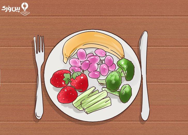 بشقاب سبزیجات و میوه برای تناسب اندام