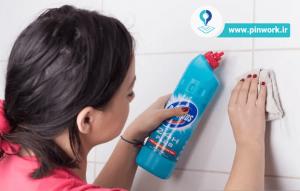 تمیز کردن دوغاب بین کاشیهای حمام